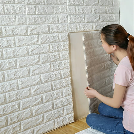 11.9''x 24'' 3D Brick Effect Wall Stickers Self-adhesive Wall Panel Decal DIY PE Foam Plate Embossed Stone Wallpaper for TV Walls, Sofa Background Home Decor](Halloween Foam Brick Wall)