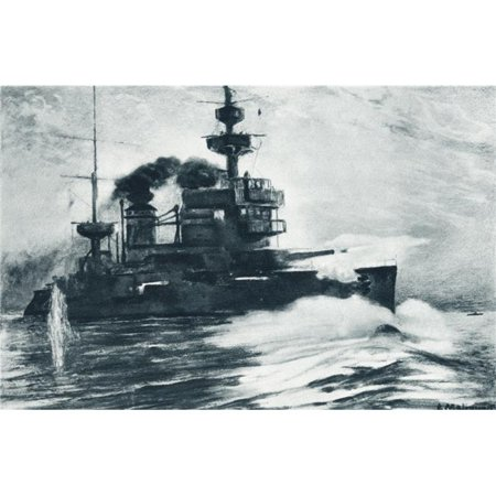 The French Battleship Gaulois One Of The Dardanelles Fleet In Action During The First World War From The Illustrated War News Published 1915 (Fleet Battleship)