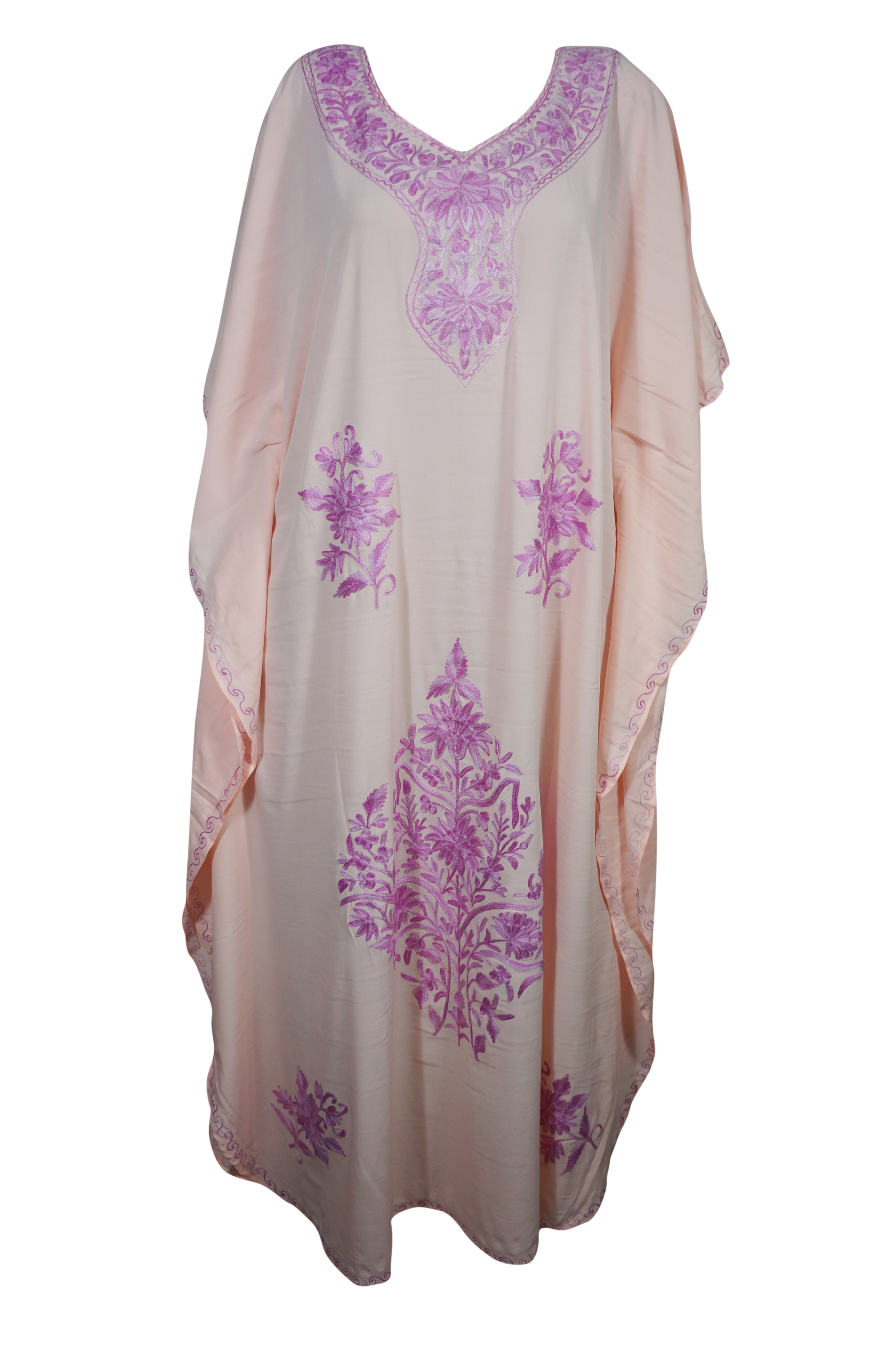 Mogul Bohemian Womens Maxi Caftan Dress Pink Floral Hand Embroidered Kimono Sleeves Resort Wear Summer Style Long Kaftan 3XL