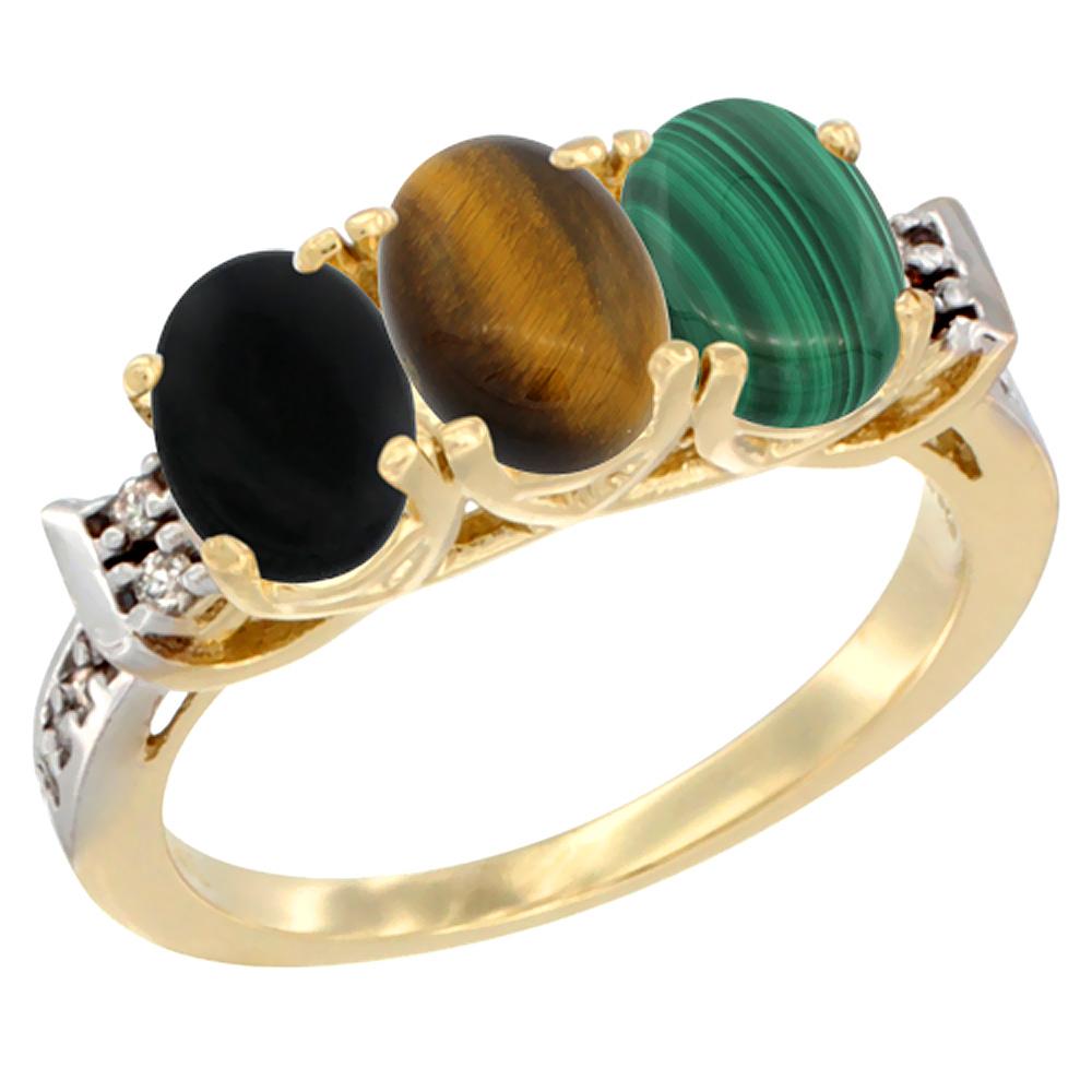 10K Yellow Gold Natural Black Onyx, Tiger Eye & Malachite Ring 3-Stone Oval 7x5 mm Diamond Accent, sizes 5 - 10