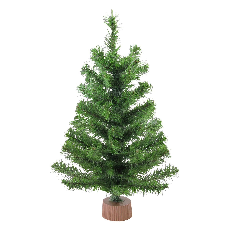 Miniature Artificial Christmas Trees: Mini Pine Artificial Christmas Tree In Wood Base