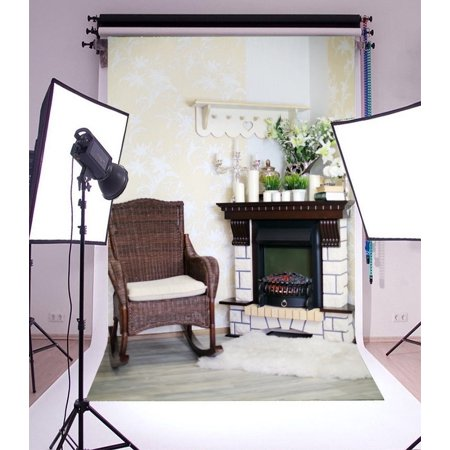 GreenDecor Polyster 5x7ft Photography Backdrop Wicker Rocking Chair and Fireplace with Candles and Flowers Interior Scene Photo Background Children Baby Adults Portraits Backdrop ()