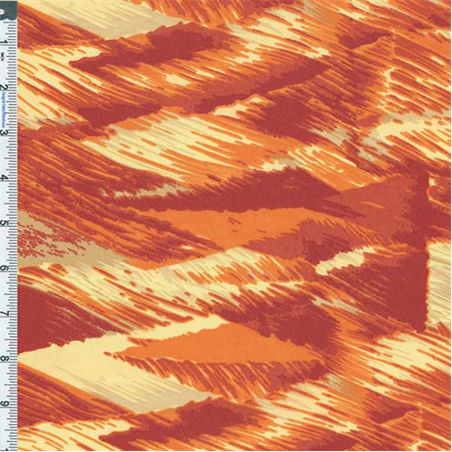 Red Japanese Abstract Waves, Fabric By the Yard