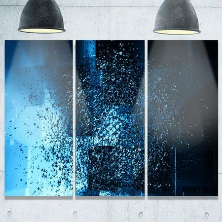 Design Art Fractal 3d Blue Paint Splash Abstract Art Glossy Metal Wall Art 36 In Wide X 28 In High 3 Panels
