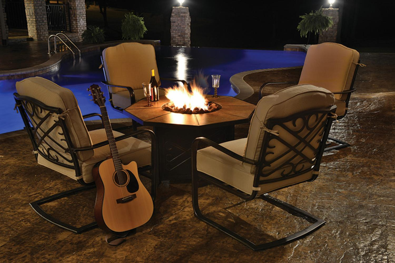 5 Piece Harmony Cast Aluminum Patio Chair And Gas Fire Pit Outdoor Furniture  Set