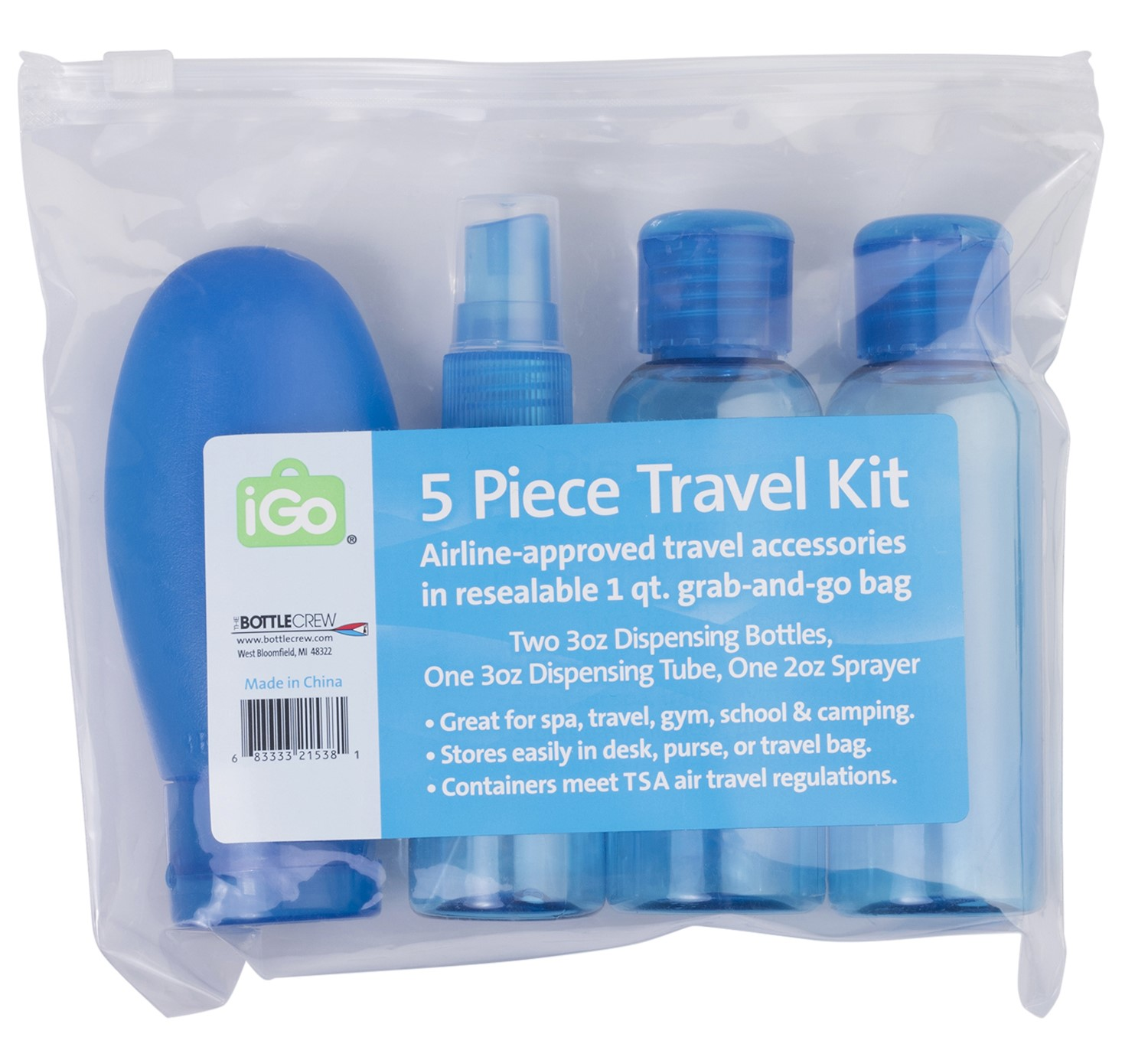 iGo 5 Piece Travel Gear Kit and Bath Bag, Various Colors