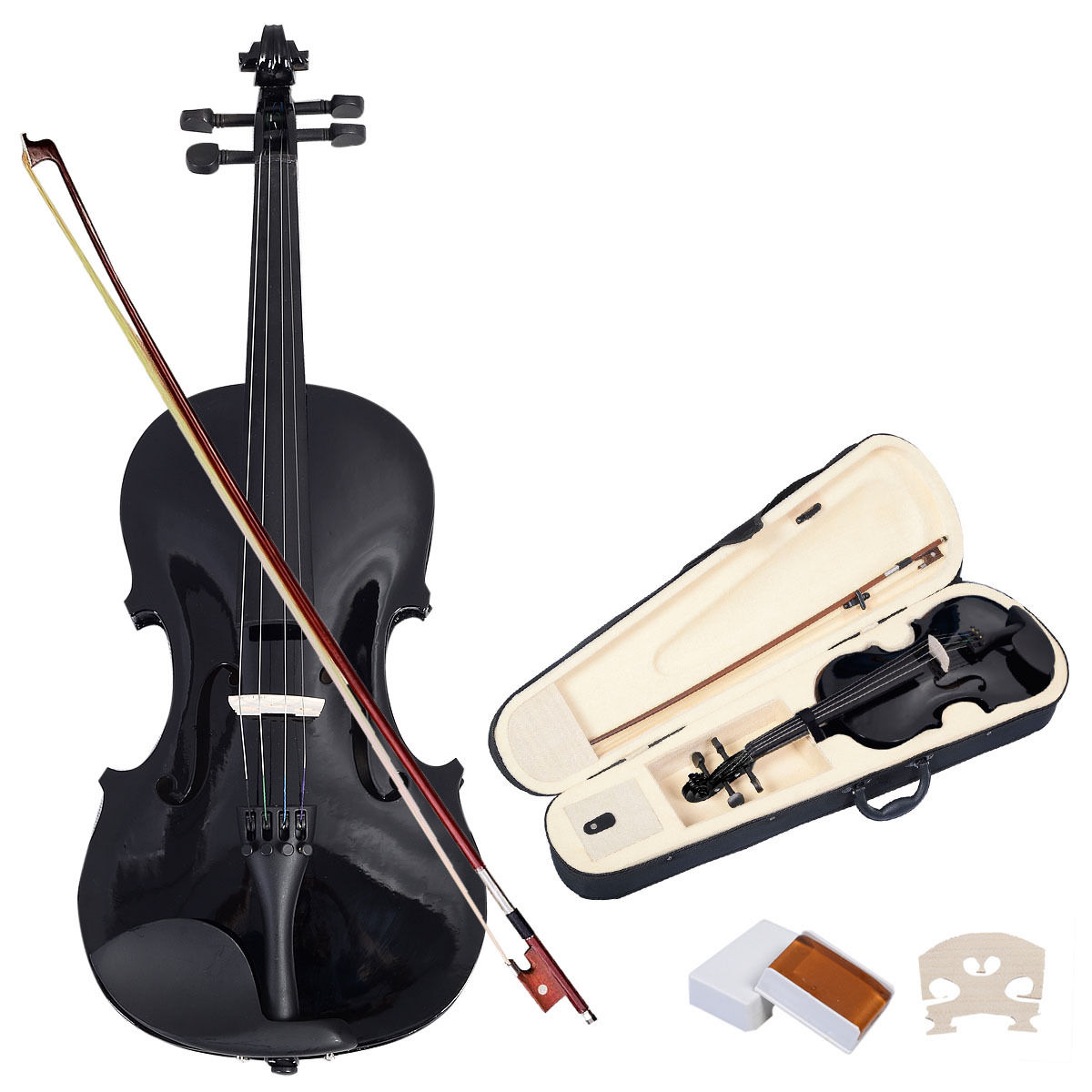 Costway 4/4 Full Size Natural Acoustic Violin Fiddle with Case Bow Black