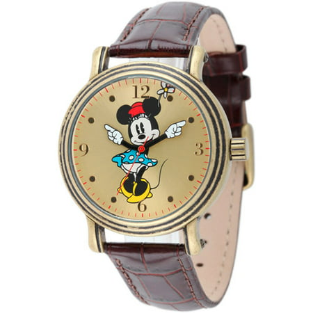 Minnie Mouse Women's Antique Gold Vintage Articulating Alloy Case Watch, Brown Leather Strap