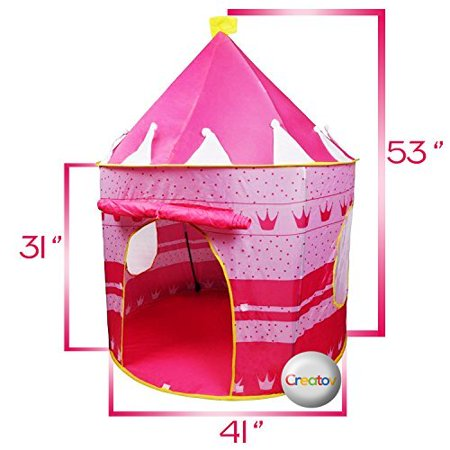 Children Play Tent Girls Pink Castle for Indoor/Outdoor Use With Glow in the Dark Stars Foldable with Carry Case - Creatov - image 1 of 5