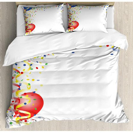 Kids Party Duvet Cover Set, Children's Birthday Concept with Balloons and Confetti Happy Surprise Cheerful, Decorative Bedding Set with Pillow Shams, Multicolor, by Ambesonne