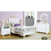 Youth Slat Poster Bed w Nightstand & Dresser Set in Snow White Finish (Twin)