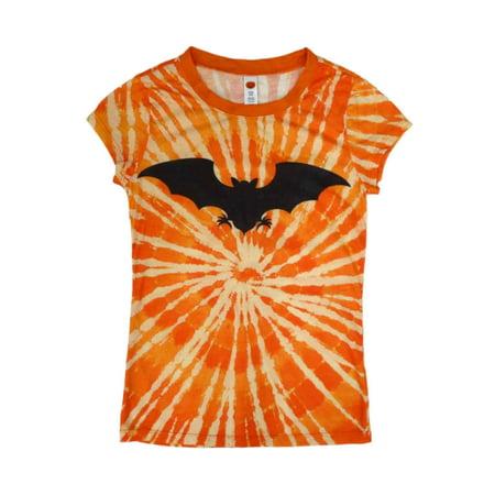 Happy Halloween Junior Womens Orange Tie Dye Bat T-Shirt  Sunburst Tee Shirt for $<!---->