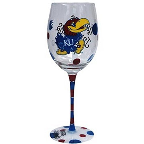 Kansas Jayhawks Blue and Red Hand Painted Wine Glass