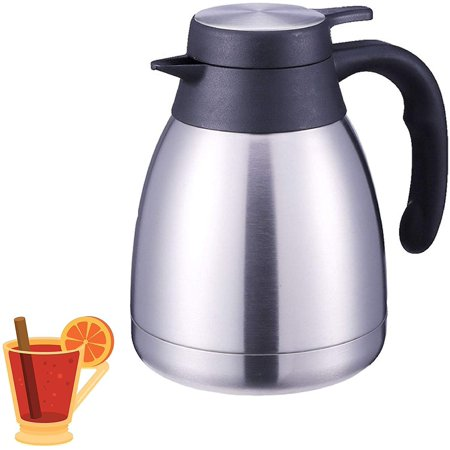 Stainless Steel Thermal Coffee Carafe - Double Walled Vacuum Thermos / 24 Hour Heat Retention / 1 & 2 Liter Tea, Water, and Coffee Dispenser Silver (34) Stainless Coffee Carafe