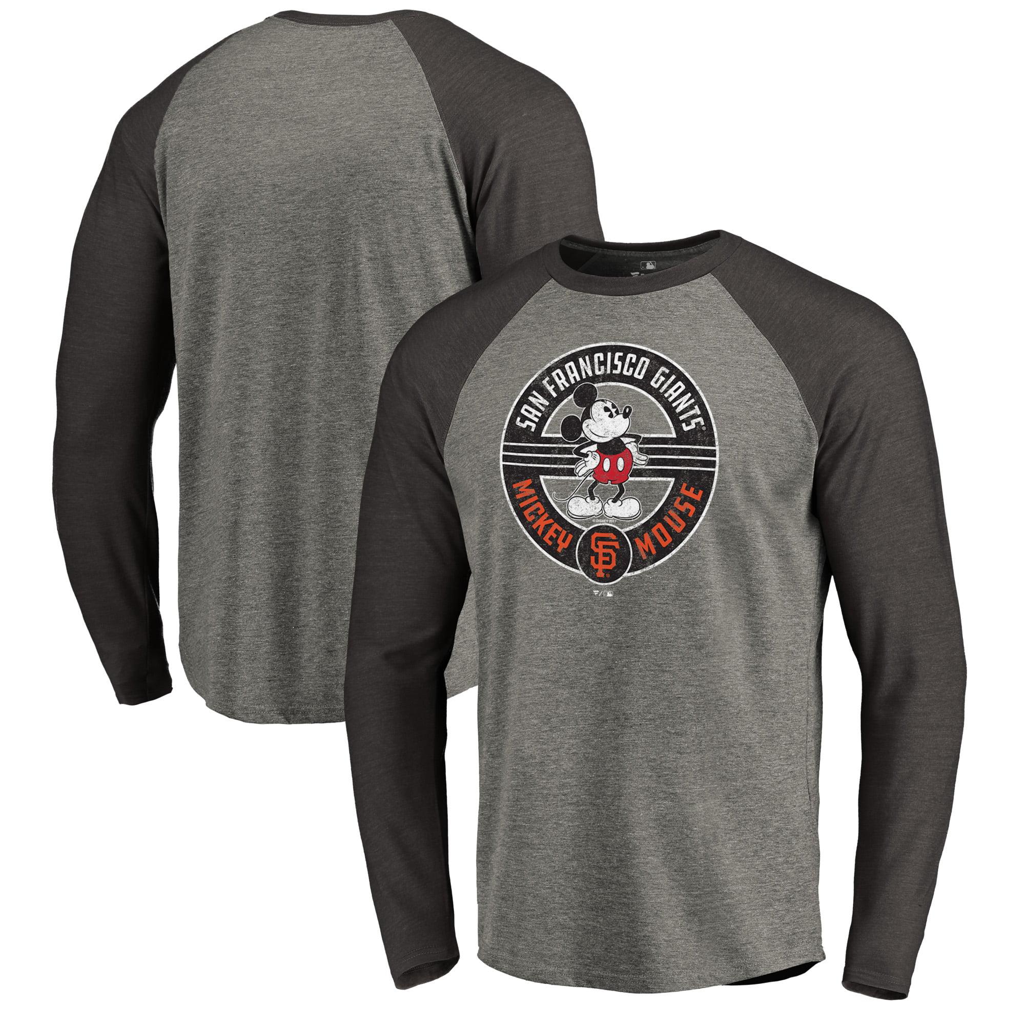 San Francisco Giants Fanatics Branded Disney Mickey's True Original Seal Long Sleeve Tri-Blend Raglan T-Shirt - Heathered Gray