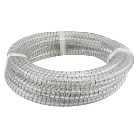10 ft x 1/4 ID Steel Wire Suction PVC Flexible Tubing High Pressure Heavy Duty UV Chemical Resistant Vinyl Hose