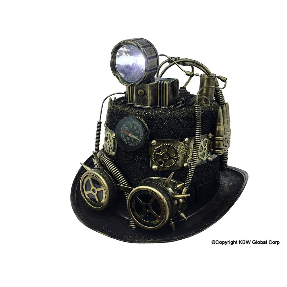 KBW Global Corp Steampunk Costume Hat with Light, One Size