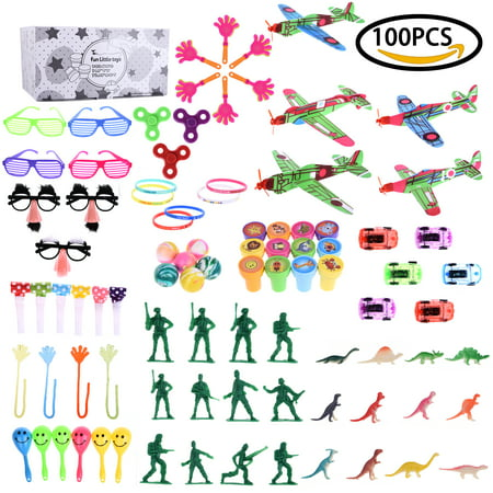 100 Pcs Boy's Party Supplies Favor Aircraft Toy Play Set Pack for Children's Birthday, Carnival Prizes, Pinata, Stocking Stuffers, Goodie Bag - Little Boy Birthday Party Ideas