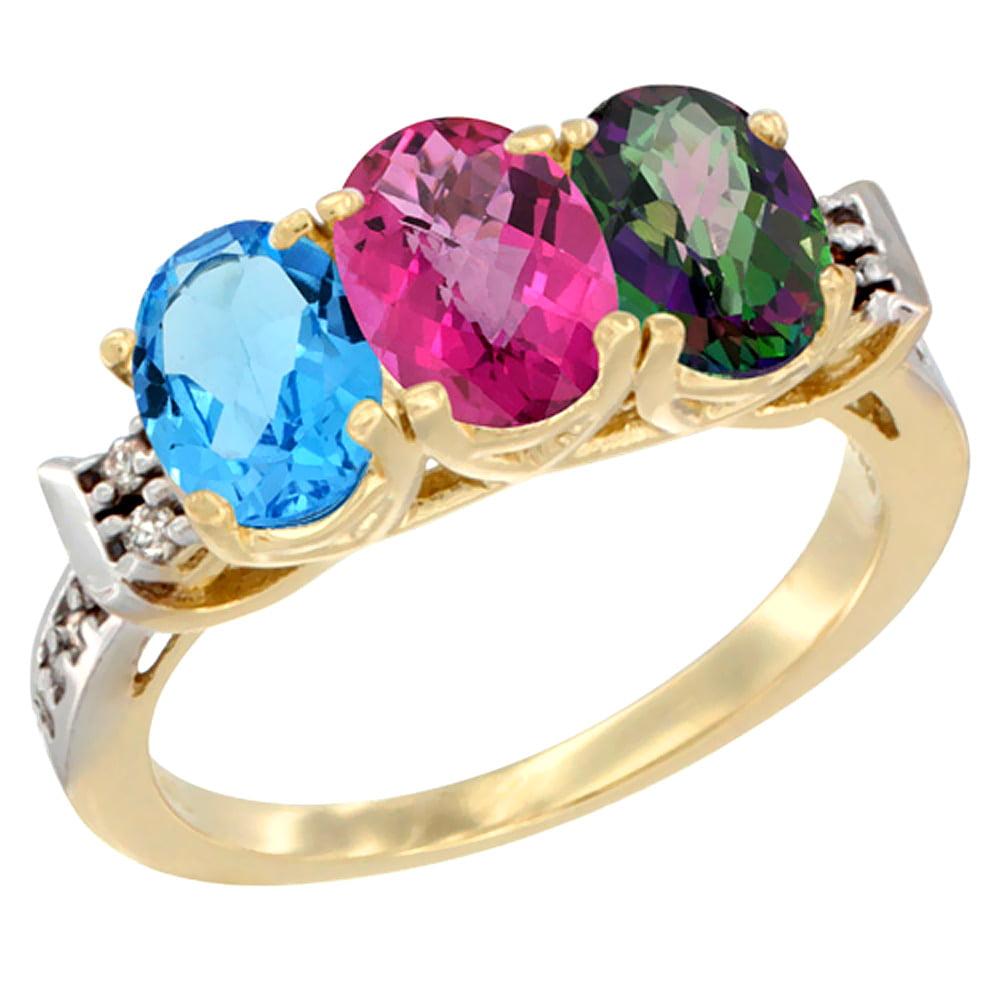10K Yellow Gold Natural Swiss Blue Topaz, Pink Topaz & Mystic Topaz Ring 3-Stone Oval 7x5 mm Diamond Accent, sizes 5 10 by WorldJewels