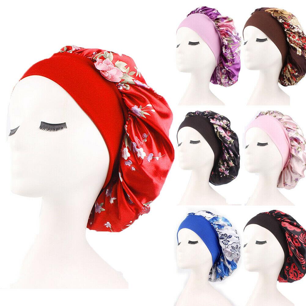 Women Satin Silk Night Sleep Cap Hair Bonnet Hat Head Cover Wide Elastic Band