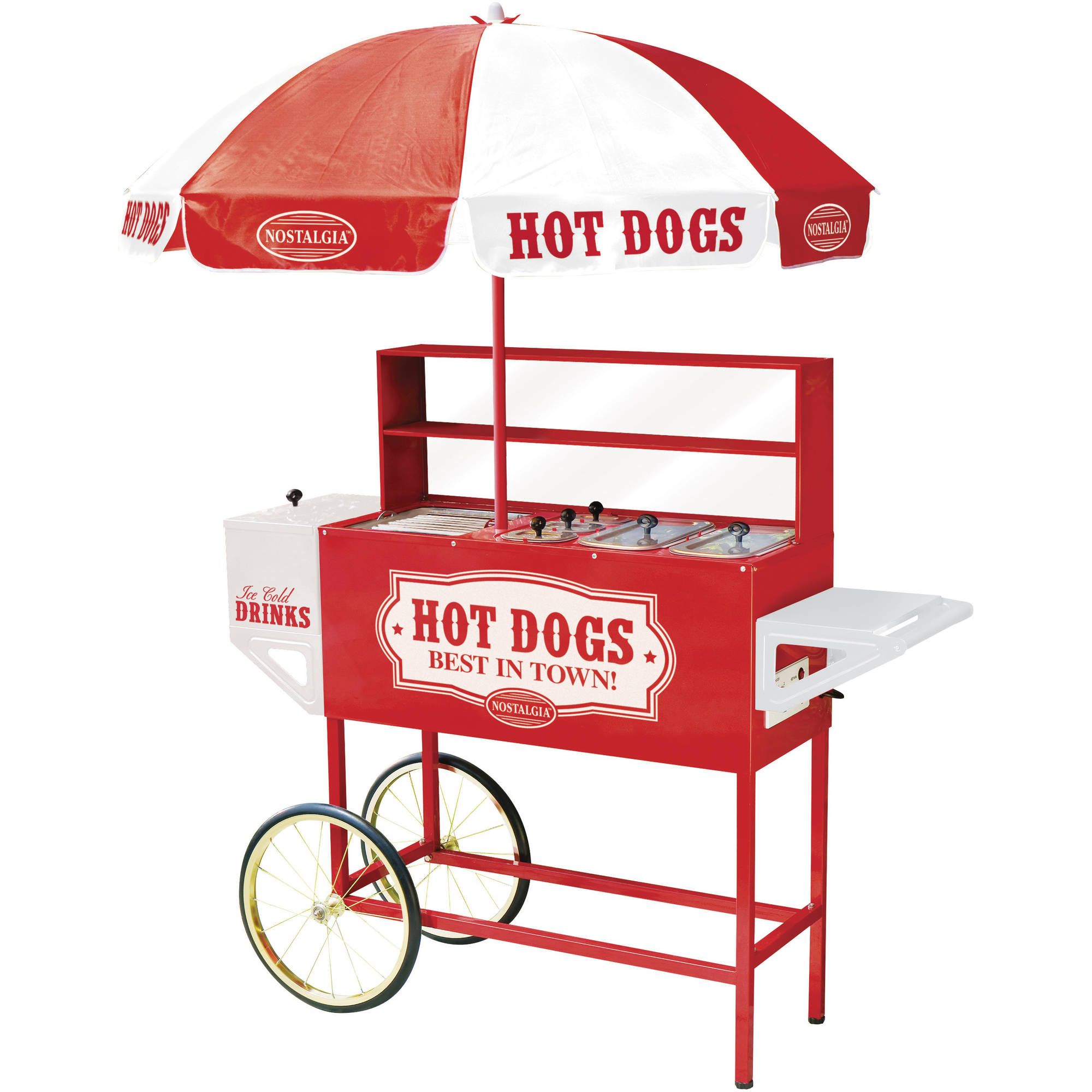 Nostalgia HDC701 48-Inch Tall Vintage Series Commercial Hot Dog Cart with Umbrella, Steamer, Roller Grill & Cold Drink Chest