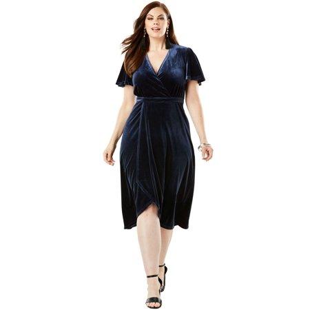 Roaman\'s Plus Size Stretch Velvet Dress With Faux Wrap Front