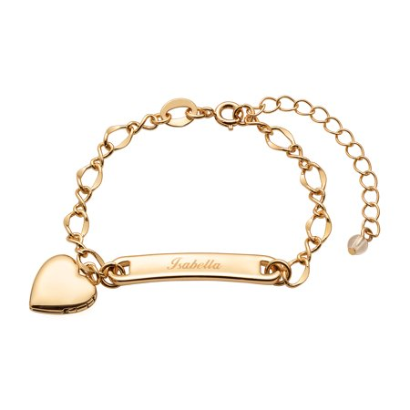 Personalized Gold-Tone Girls' Heart Charm Name Bracelet, 6