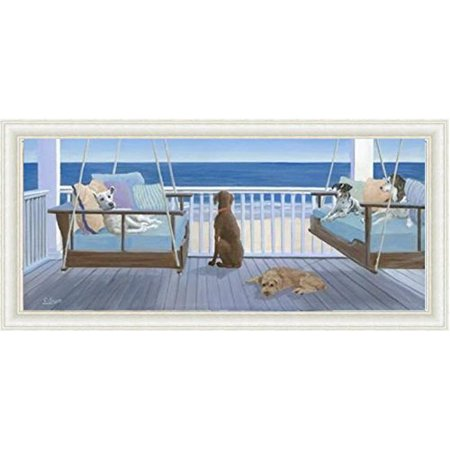 FRAMED Swing Tails -Dogs on a Seaside Porch by Carol Saxe 20x8 Art Print Poster Wall Decor