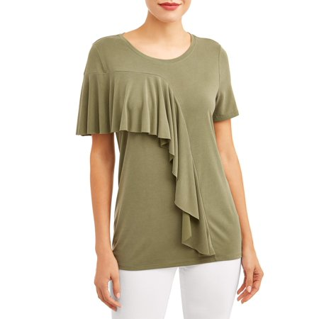 - Women's Short Sleeve Ruffle T-Shirt