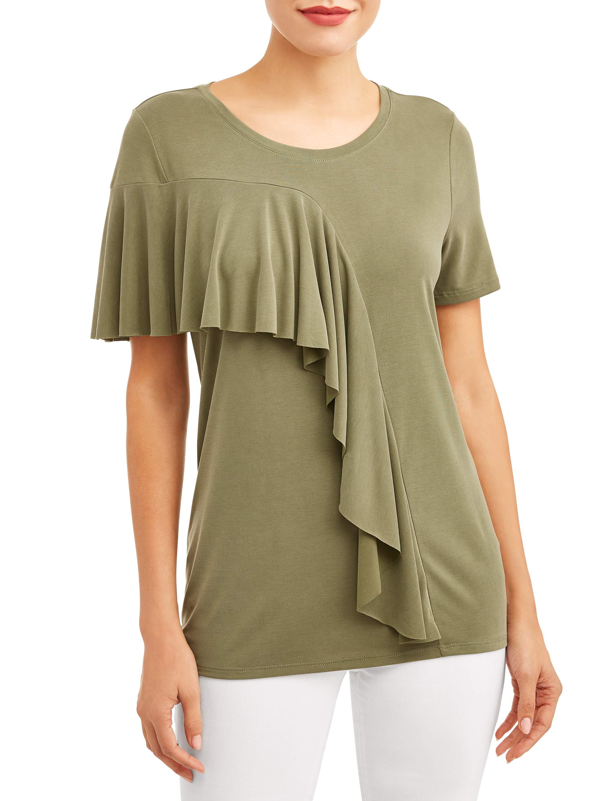 Women's Short Sleeve Ruffle T-Shirt