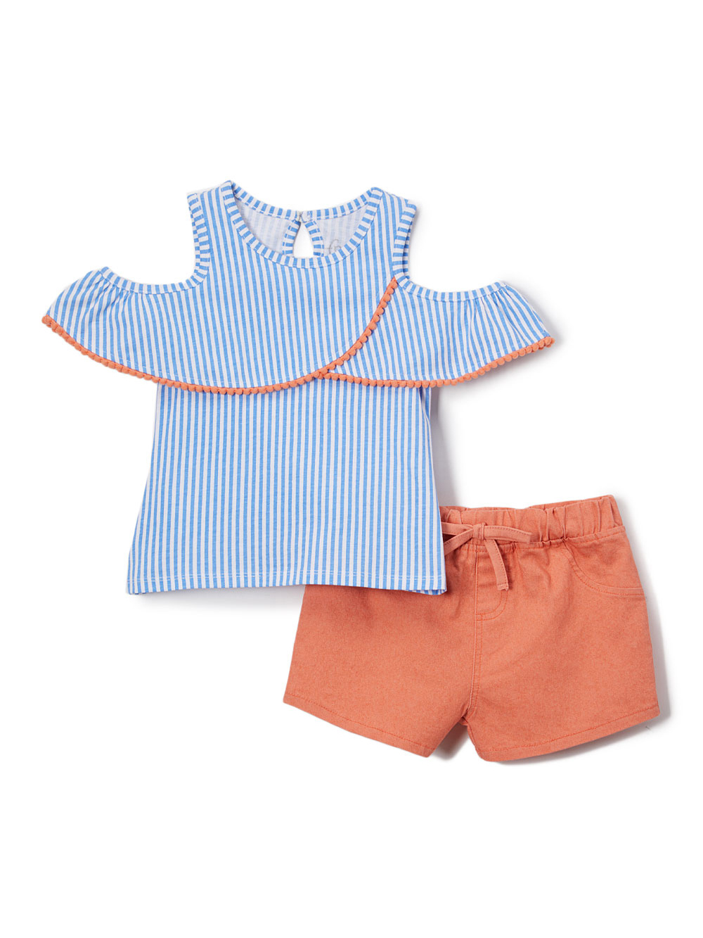 Striped Cold Shoulder Top and Shorts, 2pc Outfit Set (Toddler Girls)