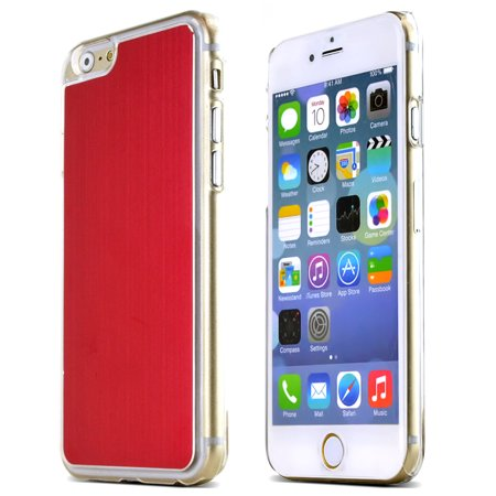- Red Polycarbonate Plastic Back with Aluminum Metal Border Case Made for Apple iPhone 6 (4.7 inch)