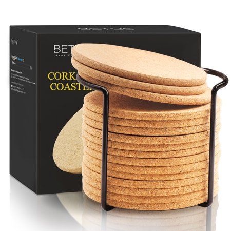 BETUS Round Cork Coasters 16pc Bulk Set with Metal Holder - 4