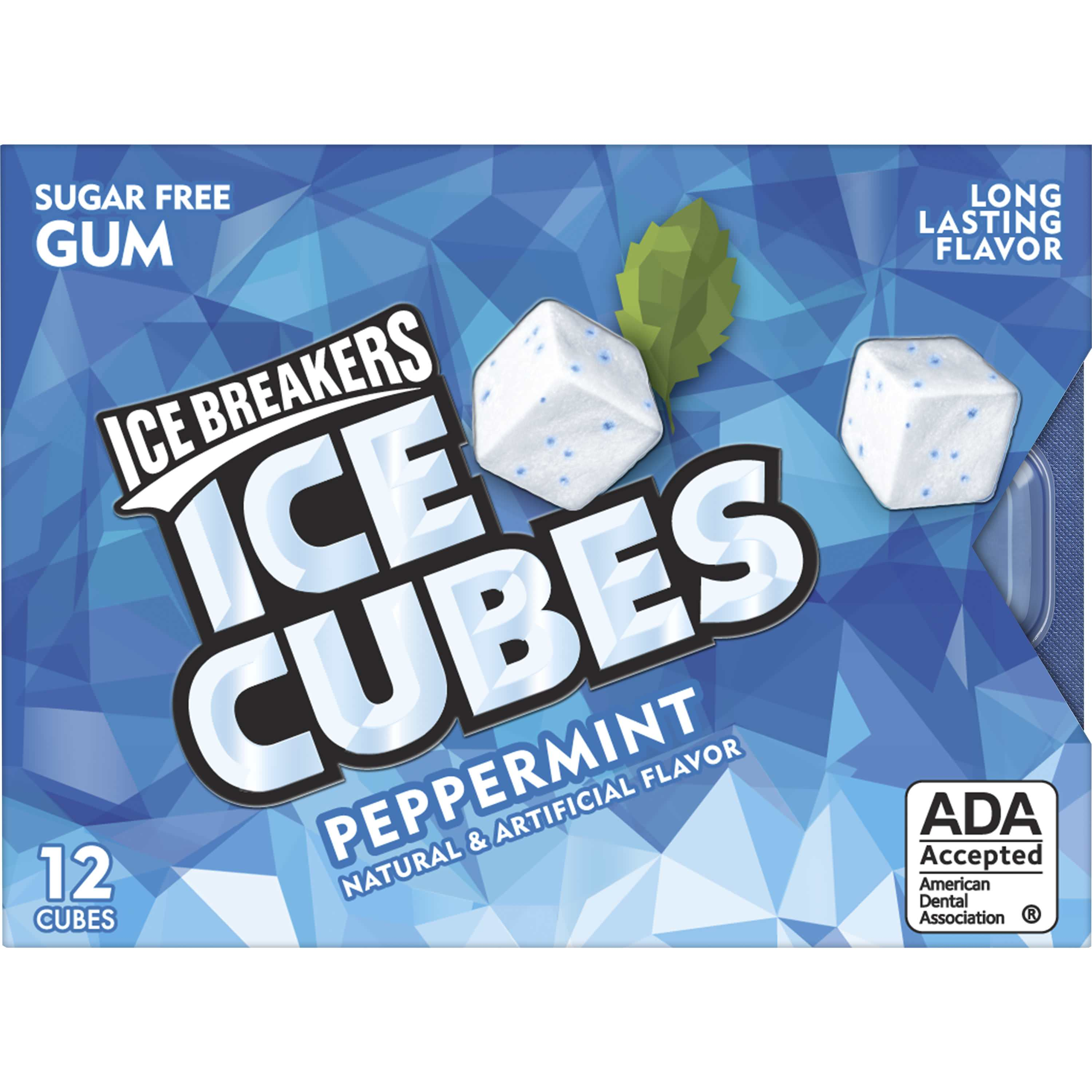 ICE BREAKERS ICE CUBES Sugar-Free Gum, Peppermint flavor, 12 Pieces