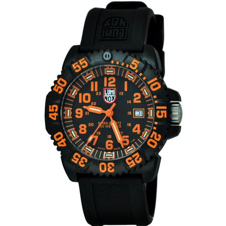 Men's Navy Seal Colormark 44mm Black Rubber Band Polycarbonate Case Quartz Analog Watch 3059