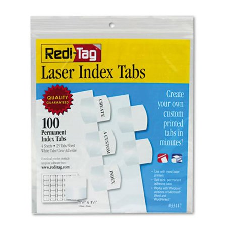 White Printable Inserts (Redi-Tag Corporation 33117 1.13 in. Laser Printable Index Tabs, White)