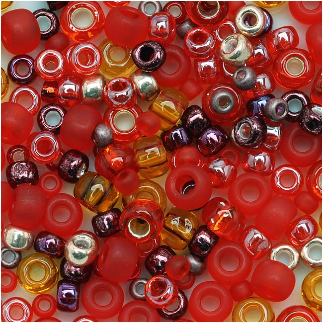 Toho Multi-Shape Glass Beads 'Momiji' Red Color Mix 8 Gram Tube