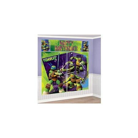 nickelodeon ninja turtles scene setters wall banner decorating kit birthday party supplies](Turtle Birthday Party)