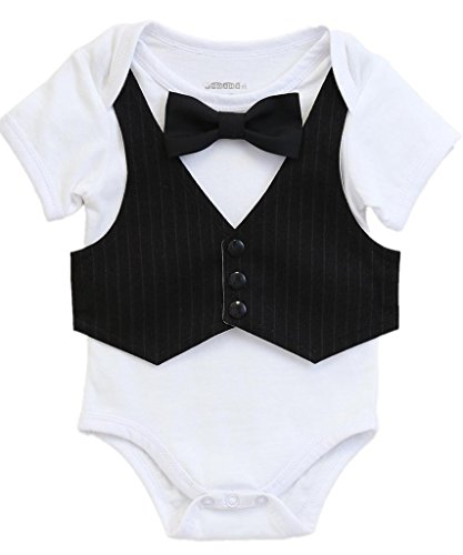 Noah's Boytique Baby Boys Tuxedo Outfit with Black Vest and Red Bow Tie Newborn