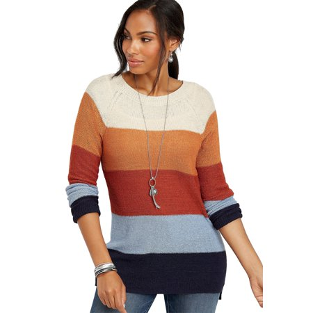 Colorblock Stripe Tunic Sweater (Maurices Tunic Sweater)