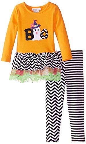 Bonnie Jean Girls Halloween Boo Applique Fall Tutu Dress Leggings 2T 3T 4T