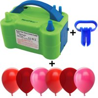 Electric Balloon Pump w/Tying Tool and 90 Balloons, 12 inch, 3 Colors - 30 Red, 30 Burgundy Wine, and 30 Fuchsia. Lightweight Inflator has Two Nozzles to Make Blowing Quick and Easy