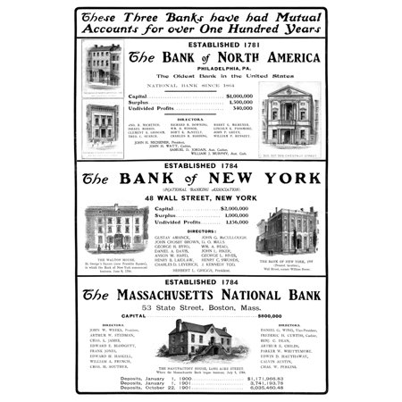 Mutual Funds 1901 Namerican Magazine Advertisement For Mutual Accounts At Three Different Banks 1901 Poster Print By Granger Collection