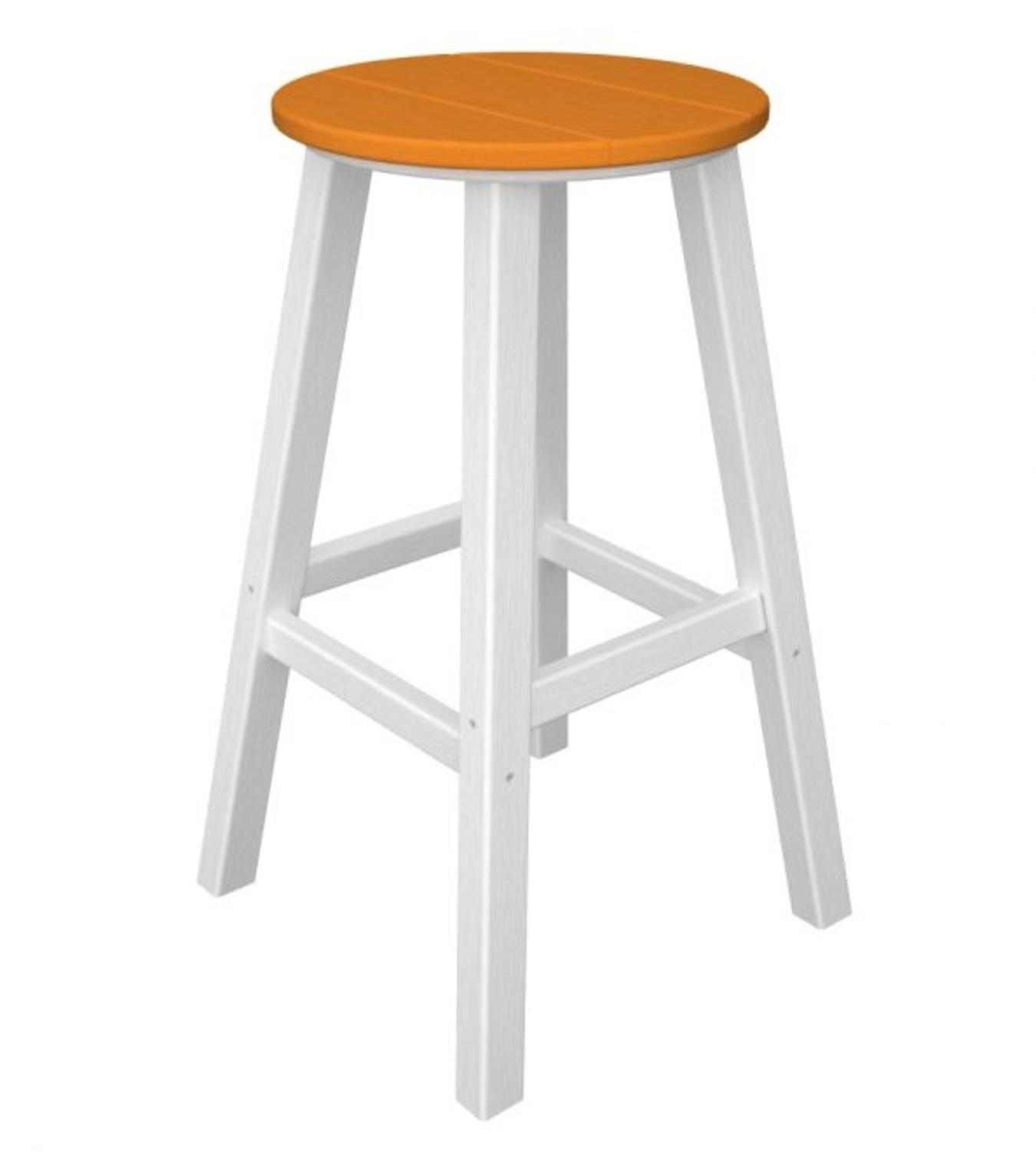 Pack of 2 Recycled Au Courant Outdoor Bar Height Stools White & Orange Tangerine