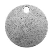 Nunn Design Flat Tag, Round Blank with Hole 20mm, 1 Piece, Antiqued Silver