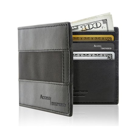 (Genuine Leather Wallets For Men - Bifold Mens Wallets With Nylon RFID Blocking With ID Window)