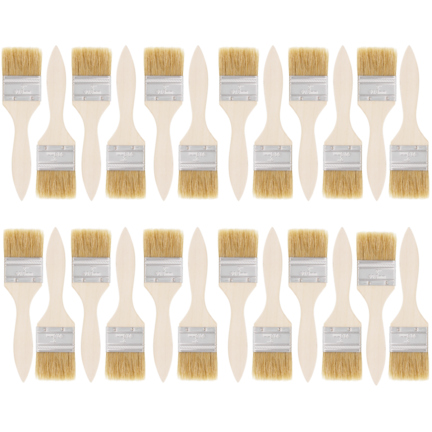 US Art Supply 24 Pack of 2 inch Paint and Chip Paint Brushes for Paint, Stains, Varnishes, Glues, and Gesso