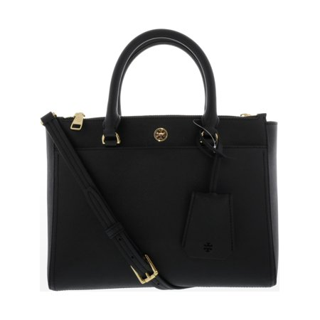 Tory Burch Women's Small Robinson Double-Zip Leather Top-Handle Bag Tote - Black / Royal (Womens Zip Top Tote)