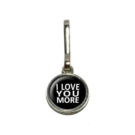 I Love You More on Black Charm Zipper -