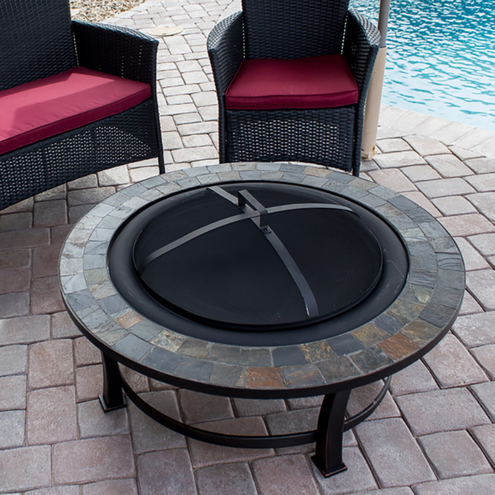 Hiland Round Slate Top Wood Burning Firepit by AZ Patio Heaters